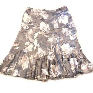 Teri Jôn Grey Floral Silk Flutter Hem A-Line Skirt